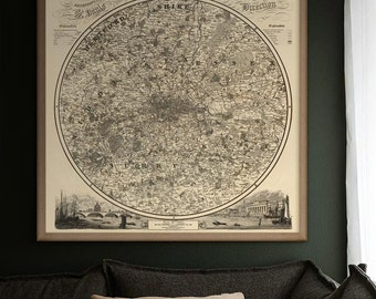 """Greater London map 1839, Victorian map of London Environs, 4 sizes up to 36x36"""" (90x90cm) London UK also in blue - Limited Edition of 100"""