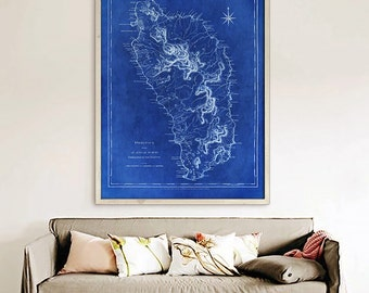 "Dominica map 1775, Old map of Dominica Island in the Caribbean up to 36x48"" (90x120 cm) Dominica, also in blue - Limited Edition of 100"