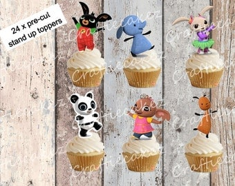 24 x Pre Cut Edible Bing Stand Up Cupcake Toppers