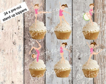 24 x Pre Cut Edible Gymnastics Stand Up Cupcake Toppers