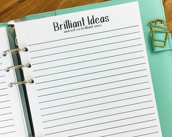 A5 Brilliant Ideas printed planner insert - lined stationery - bright ideas - writing journal - note taking - #122