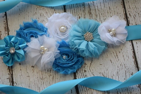 Flower Sash,turquoise, white   Sash , flower Belt, maternity sash