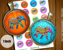 Ethnic Elephants Digital Collage Sheet 1inch 25mm Printable Circles Download for pendants magnets bottle cups Cabochons - 113