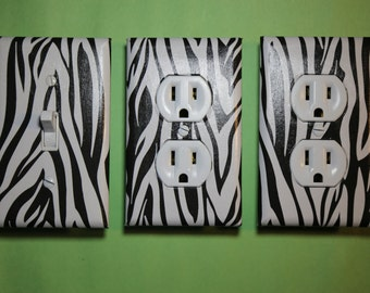Zebra print black and white 3 piece Light Switch Plate and Socket Cover set boys girls childs room home decor