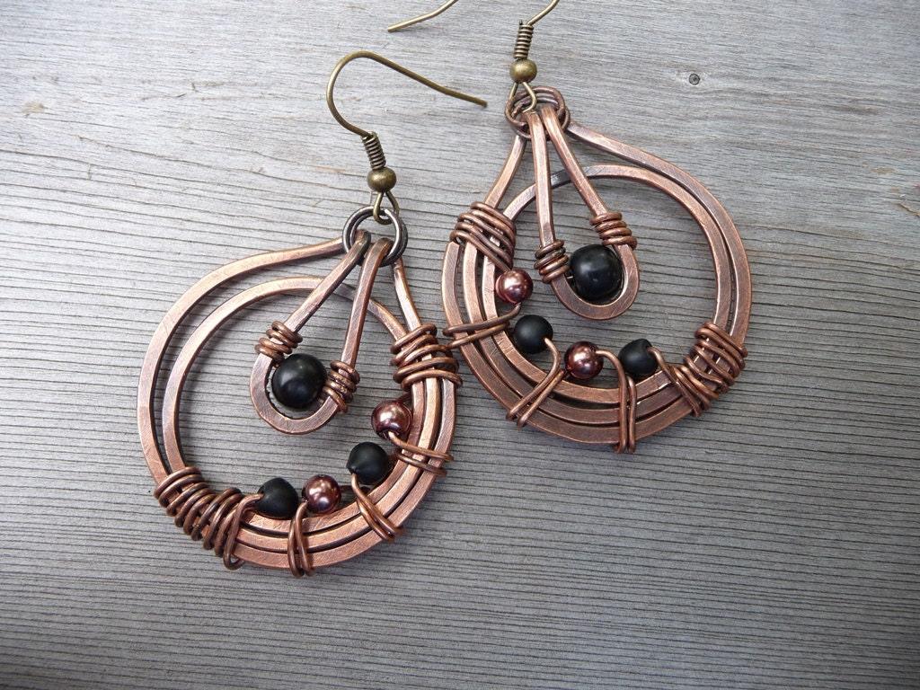 Metal Wire For Jewelry : Wire wrapped jewelry copper metal earrings by fancyyoudesigns