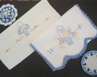 Vintage Blue Linen Lot- 1 Pillowcase, 1 Runner and 2 Small Linens