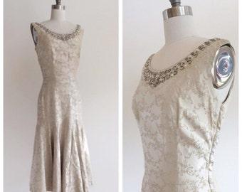 Vintage Bridal 1960's Brocade Trumpet /  Mermaid Tea Length Dress