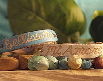 leather engraved bracelets - Couples Matching bracelets - His and her gifts - Gifts for couples -Personalized gifts- Custom engraved SKU1016