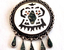 Mexican sterling & Mosaico Azteca inlay abstract brooch / pendant