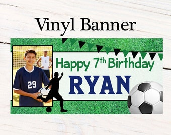 Soccer Striker Party Banner ~ Personalize Birthday Banners - Team Sports Banner