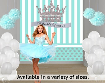 Sweet 16 Princess Birthday Party Personalized Photo Backdrop - 16th Birthday Photo Backdrop- Aqua and Silver Photo Backdrop, First Birthday