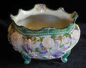 Nippon Moriage Porcelain Footed Bowl or Pot Lavender and Green Circa 1910s