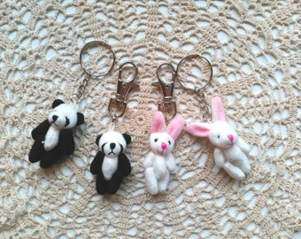 Tiny Fabric Panda Bear Bag Clips & Key-rings. Little Girl Gift Idea. Shabby Chic Bunny Rabbit Book Bag Clips, Keychains. Cute Accessories.