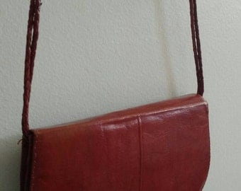Vintage/ Leather Snap Closure Bag With Braided Strap