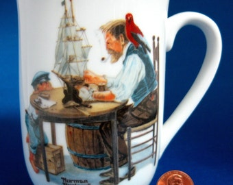 Norman Rockwell Museum Mug The Good Boy With Grandfather Shipbuilding 1980s