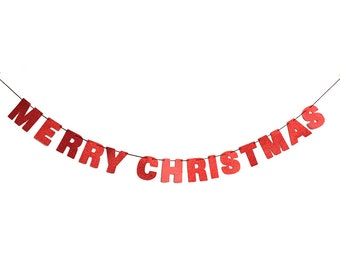 MERRY CHRISTMAS Glitter Banner Wall Hanging - Christmas Decorations - Christmas Party Decor - Customizable Christmas Banner