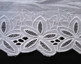 Cotton Eyelet Embroidered Trim, Cotton Lace, Floral Eyelet By The yard, White Cotton Trim