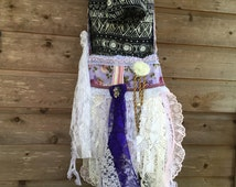 Bohemian cross body bag Bohemian cross body purse lavender cross body bag purple cross body purse large gyspy bag handmade fabric bag purse