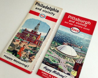 Vintage Esso maps - Philadelphia PA 1966 - Pittsburgh PA 1964