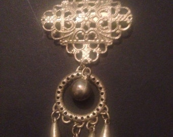 Vintage Silver Brooch Filigree Dangle Costume Jewelry