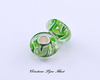 2 or 5 Murano glass beads charm Européan style ! Green color