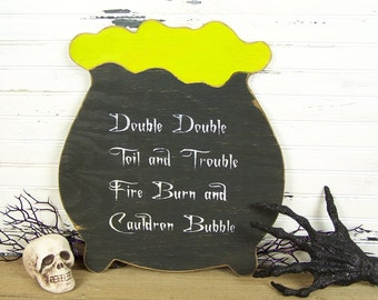 Witches Cauldron Halloween Decoration Halloween Party Sign Double Double Toil And Trouble Witch Decor Witches Brew Halloween Wall Decor