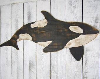 Orca Whale Sign Killer Whale Wall Art Wooden Whale Decor Pacific Ocean Whale Watching Whale Wall Decor Orca Art Rustic Beach House Decor