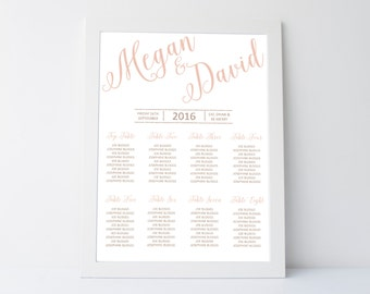 Digital Printable Wedding Table Plan. Rose Gold Modern Seating Chart With Glitter Colour Options - Two Sizes Available.