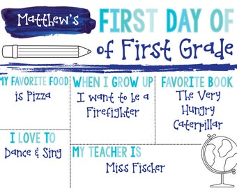 First Day of School Sign {Blue Watercolor}