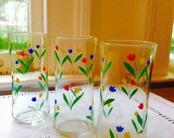 Vintage Tulips in Bloom glasses
