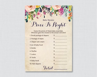 Floral Baby Shower Price is Right Game - Printable Baby Shower Game Instant Download - Colorful Shabby Chic Flower Price is Right - 0025-A