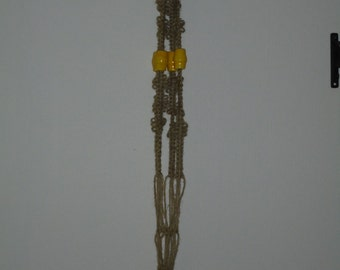 Handcrafted Natural Jute Macrame Plant Hanger withYellow Ceramic Beads 4' Long