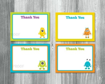 Monsters Thank You Cards, Monsters Note Cards, Monster Notecard, Monster Theme Thank Yous, Monster Theme Thanks, Monster Thank You Notes