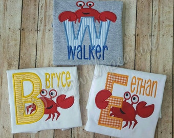 Crab alphabet, crab shirt, crab shirt with letter and name, personalized shirt, boys applique shirt