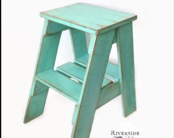 rustic side table step stool shabby chic furniture bedroom side table cottage farmhouse ladder ships from canada blue shabby chic furniture