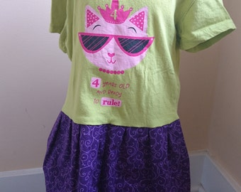Fourth Birthday Dress - Girls Happy Fourth 4th Birthday Princess T-shirt Party Dress - Size 4/5