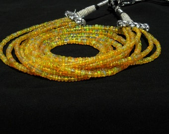 Natural Ethiopian Welo Opal Smooth Beads Rondel Necklace 2-4.5 M.M. 5 strand necklace- adjustable necklace-welo opal smooth beads necklace