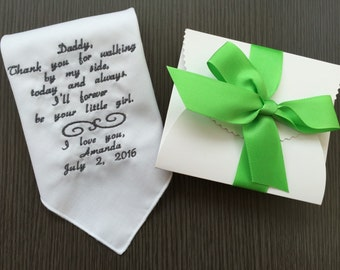 Customized Handkerchief For Daddy -Wedding Gift For Father Of Bride-Embroidery Hankie-Hanky-Free Wedding Gift Box With Matching Ribbon