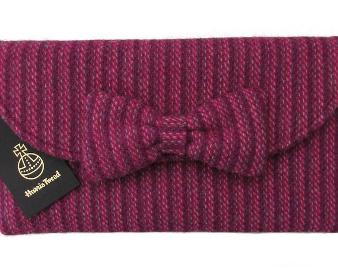 Harris Tweed Pink & Purple Weave Clutch Bag with Bow