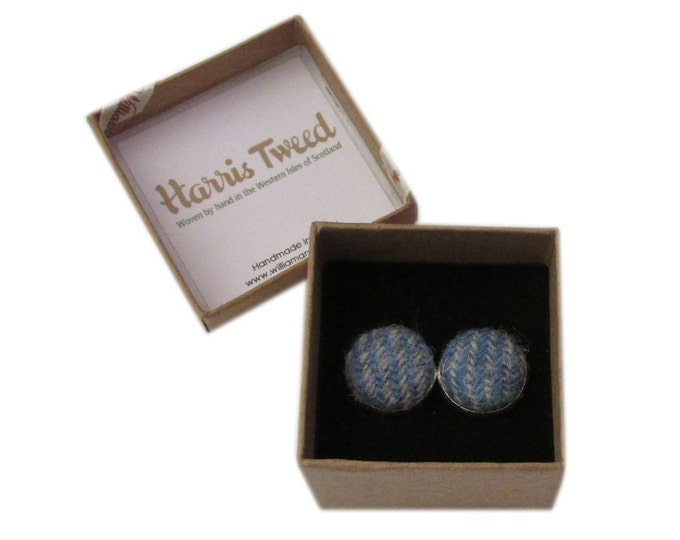 Harris Tweed Light Blue & Grey Stripe Handmade Boxed Cufflinks