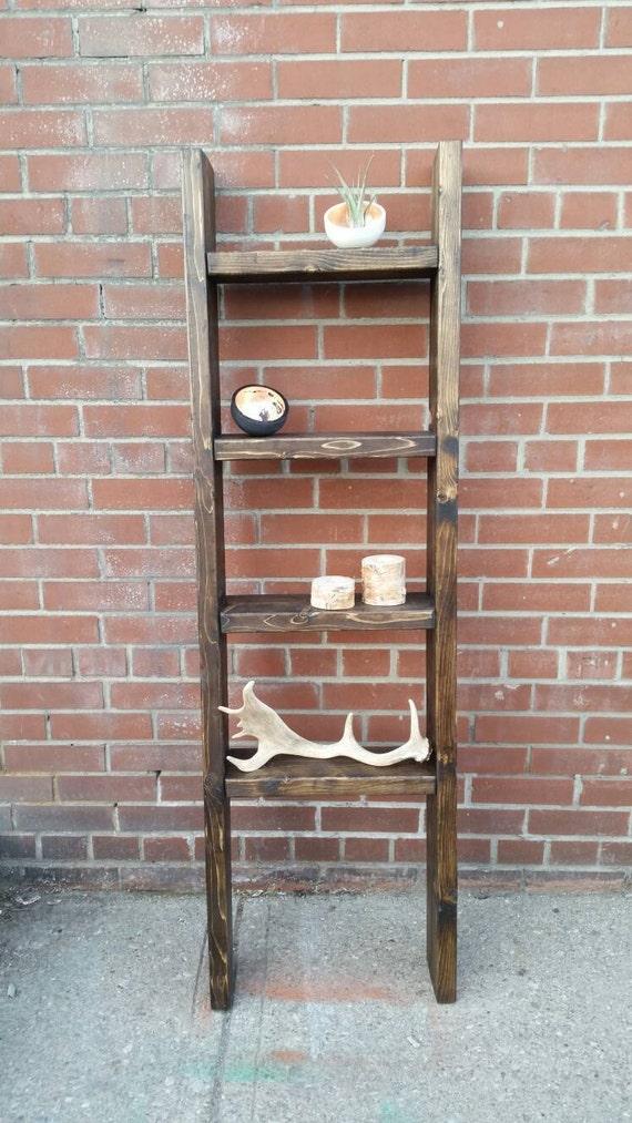 rustic wood ladder shelf freestanding by pipeandwooddesigns. Black Bedroom Furniture Sets. Home Design Ideas