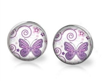 Butterfly Stud Back Glass Earrings