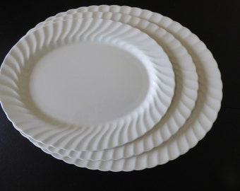 "Vintage Johnson Brothers Oval Ironstone Platters, Regency White Swirl, England, 3 Sizes Available: 12"", 14"", 16"""