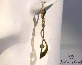 Earrings, bicolor, Crystal, long hanging earrings, wave, arc, line, engagement, Valentine