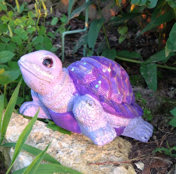 Garden turtle statue purple whimsy yard art outdoor garden for Whimsical garden statues