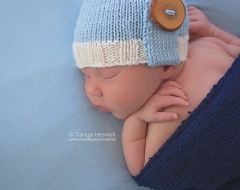 Hand Knitted Baby Hat Button Detail Photography/Photo Prop 0-12 Months Cashmerino Silk Boy UK Seller
