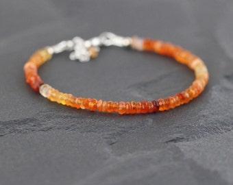 Mexican Fire Opal Bracelet in Sterling Silver or Gold Filled. Dainty Beaded Stacking Bracelet. Delicate Red Orange Gemstone Bracelet