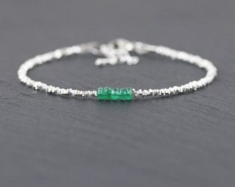 Genuine Zambian Emerald Bracelet in Sterling Silver or Gold. Dainty Beaded Stacking Bracelet. Delicate Green Gemstone Jewelry. Jewellery