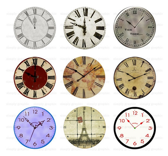 Vintage Clock Faces Digital Collage Sheet 1 by ...