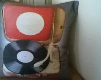 70's retro record  player cushion cover16 inch